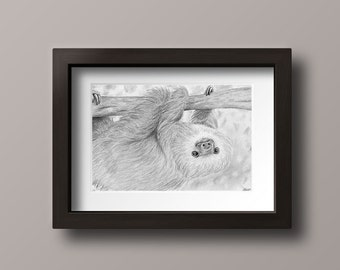 Sloth Print - Sloth Art - Sloth Decor - Sloth Wall Art - Sloth Gift - Sloth Art Print - Sloth Drawing - Sloth Home Decor - Sloth Nursery