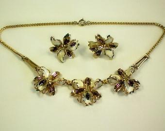 Enamel & Rhinestone Orchid Necklace with Earrings - 3239