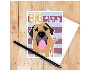 Dog Birthday Card, Happy Dog Card, Mastiff Art, Funny Dog Card, Mastiff Card, Happy Birthday Card, Dog Art, Dog Lover Card, Birthday Wishes