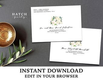 Editable Envelope Template INSTANT DOWNLOAD, Printable File, edit in your browser, white and gold floral, BRYNNE Collection