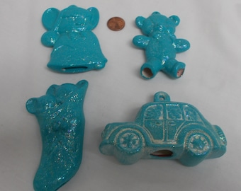 Set of 4 Blue Glitter Christmas Ornaments- painted ceramic bisque