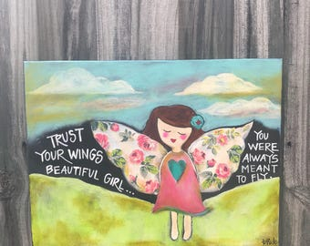Hand painted Angel with Mixed Media paper flower wings 12x16 Canvas