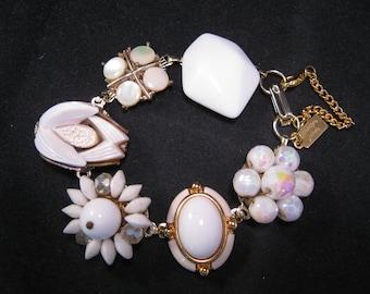 Upcycled Earring Bracelet, Bridesmaid Gift, Vintage, White,Gold,Milk Glass, Cluster, Jennifer Jones, Under 40, Coupon Code, OOAK - Milky Way