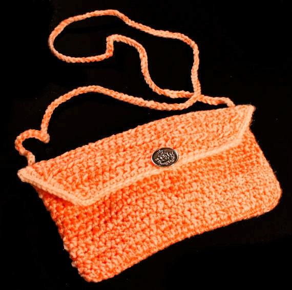 Handbag, Crochet, Orange, Handmade, Shoulder Bag, Purse