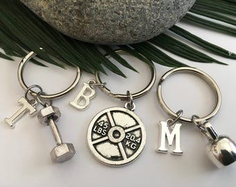 Fitness keyrings Your  choice of either Large Dumbell Kettlebell or 45lb Weight plate and personal initial affordable and gift wrapped