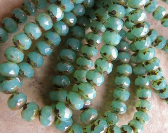 Rondelles, Green Aqua Opal,  Faceted with Brown Picasso Finish, Czech Glass, 7mm x 5mm, Full Strand