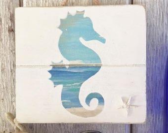 Seahorse Pallet Sign - Wood Seahorse Decor, Upcycled Seahorse Decor, Seahorse Beach Art, Upcycled Coastal Art, Seahorse Wall Decor