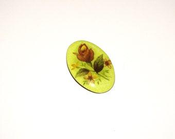 Metal Painted Print Rose Flower Brooch, Vintage Garden Pin