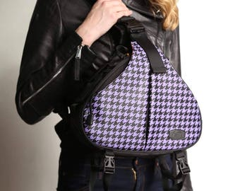 Camera Bag / Camera Bag with Personalized Patch / DSLR / Camera Case / Camera Bag Purse /  Camera Backpack / Medium / Two Lenses/Houndstooth