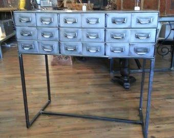 Vintage industrial stripped steel factory cabinet