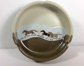 Otagiri Japan stoneware pottery ash tray with horses decor. Free ship to US
