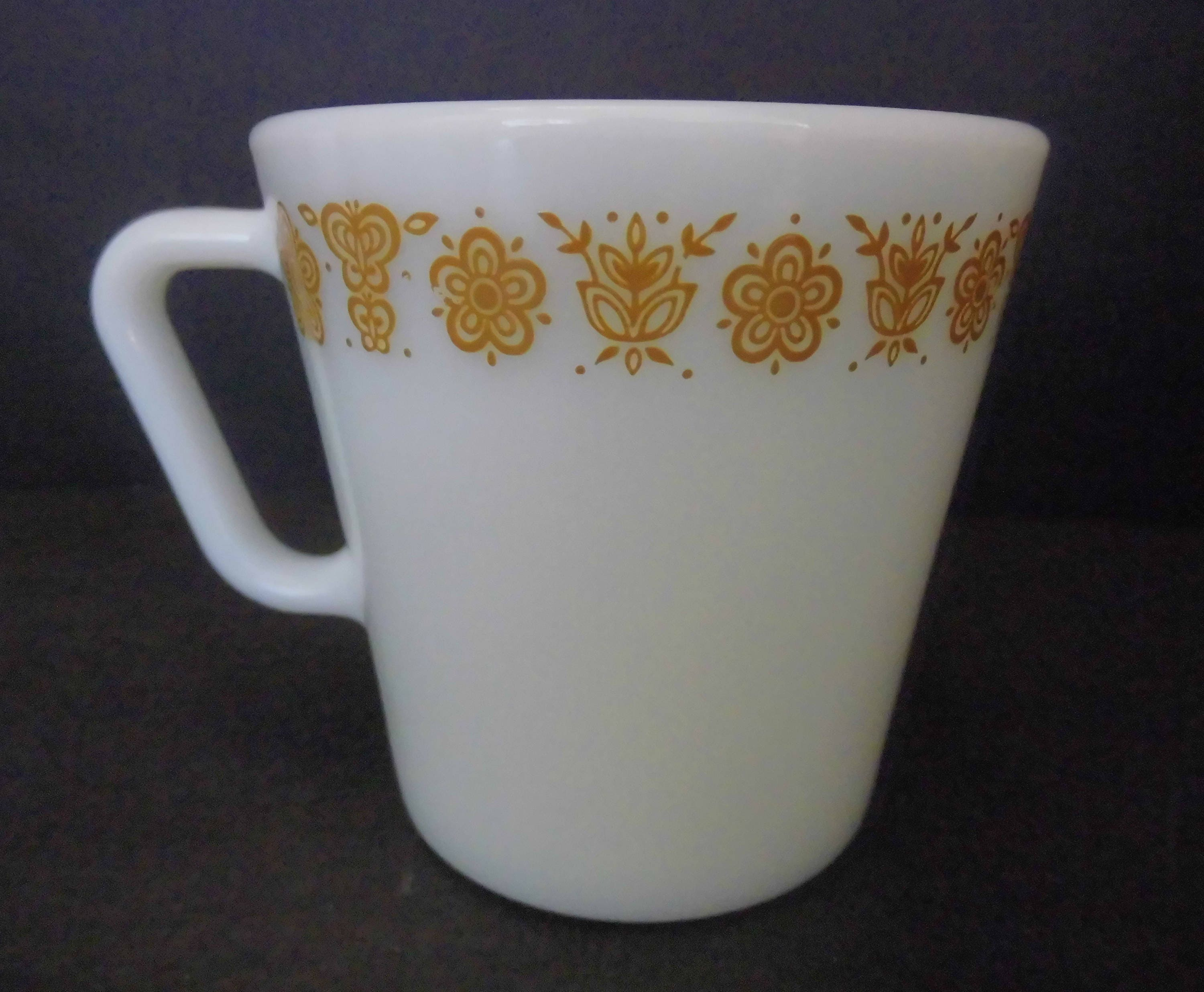 Vintage Pyrex Cups Mugs Coffee Mugs Butterfly Gold 8 oz