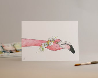 Hand Drawn Card: Flamingo Flowers // birds // pretty in pink // for her // illustration