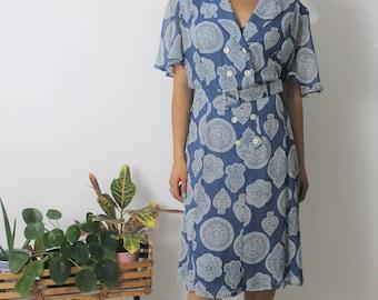 1990s Blue Chiffon Belted Midi Dress Size UK 12/14, US 8/10, EU 40/42