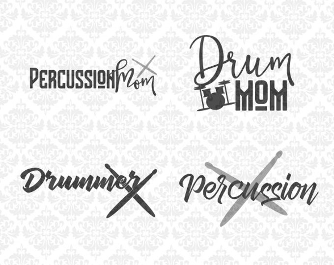 Drummer Percussion Mom Marching Band SVG DXF STUDIO ai eps png scalable vector Instant download commercial use cricut silhouette cutting
