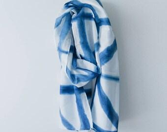 Shibori silk blend scarf // Dusk