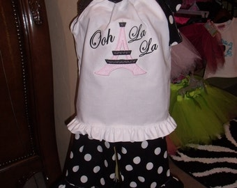Paris Girls Outfit, Personalized Paris Outfit, Eiffel Tower Girl Outfit, Eiffel Tower Shirt, Embroidered Eiffel Tower Dress