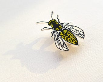 Wasp Badge - wasp jewelry, yellowjacket brooch, wasp pin