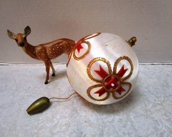Extra Large Vintage Handmade Ornament, Satin Sequin 60s, Original Box, Embellished Bling for Your Tree or Centerpiece, Winter Wedding Decor