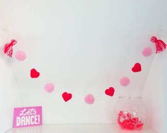 Pink and Red Heart Pom Pom Garland