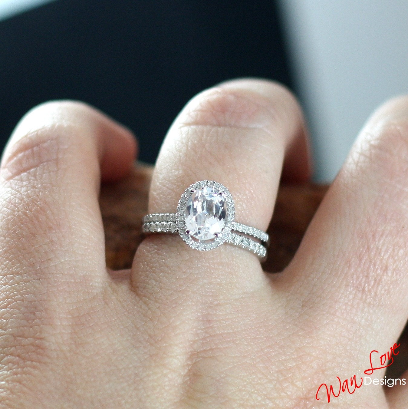 White Topaz Diamond Oval Halo Engagement Ring 2ct 8x6mm Band