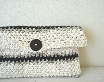 Crochet Clutch Bag 50% OFF Large Cotton Wallet Fold Over Clutch Black White Striped Handbag Purse