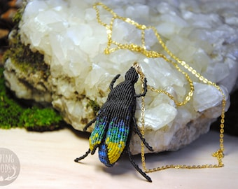 Blue and green - macrame - Entomology - SleepingWoods insect beetle pendant