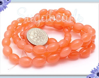 1 Strand Coral Peach Rice Beads - Oval Orange Glass Beads - Opaque Rice Beads 9mm x 6mm
