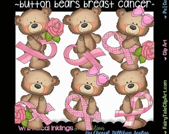 Button Bears Breast Cancer Clip Art, Commercial Use, Instant Download, Digital Image, Clipart, Png, Bear, Get Well