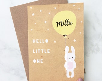 New Baby Balloon Card, Personalised Baby Card, Baby Rabbit Card, Rabbit Holding Balloon Card, Balloon and Rabbit, Card for Baby, Bunny Card
