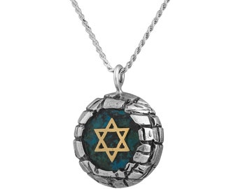 Sterling Silver Eilat Stone Yellow Gold Star Of David Jerusalem Walls Pendant