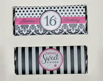 Sweet 16 Personalized Birthday Candy Bar Wrappers 1.55oz- Printable