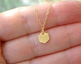 Tiny  Hexagon Necklace , Gold Fill Chain , Minimalist Everyday Necklace , Geometric Jewelry layered necklace