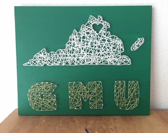 George Mason University String Art, GMU, College Decor, Dorm Room Decor, Custom String Art, College Gift, Gift for college student, Virginia
