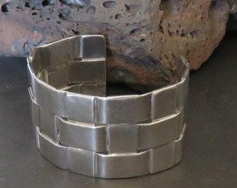 Man's HEAVY sterling silver cuff bracelet, woven, marked sterling, vintage, 62.1 grams