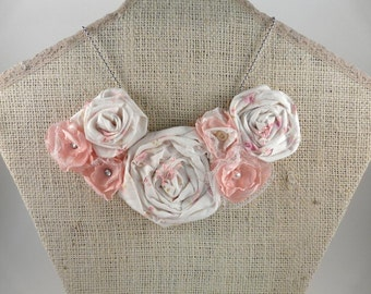 Pink and White Rose flower bib necklace -  primitive diamond pearl button chain posies