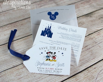 Disney Save the Date, Luggage Tag, Disney Tags, Disney Invitations, Disney Wedding