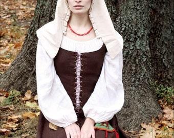 Medieval Kirtle, Renaissance Linen Dress, 15th CenturyGown
