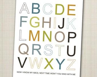 alphabet poster printable 11x14  abc art print