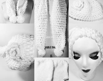 Handmade Crochet Winter Set ( scarf, beanie, fingerless gloves )