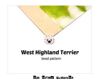 Brick Stitch West Highland Terrier Dog PATTERN, Mini Size, Miyuki Delica Bead Weaving