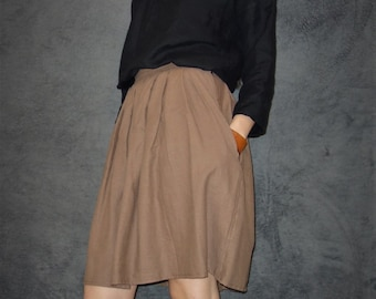 Brown Linen Skirt, Wooden buttons, Sustainable fashion, Ethical closet, Slow fashion