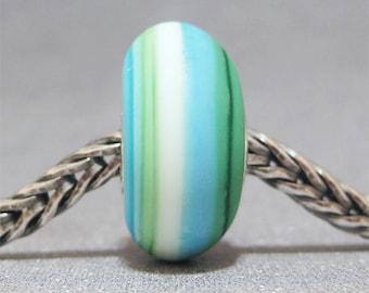 SMALL CORE Blue, Green & White Handmade Lampwork Bead Glass Big Hole Bead Bali Beach