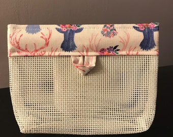 Purse Cosmetic Pouch. White Mesh/Purple Deer
