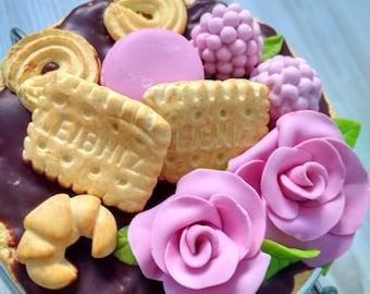 Kitchen jar with decor, polymer clay, berries, blackberries, raspberries, blueberries, sweets, macaroons, rose flower, Gift, Handmade jar