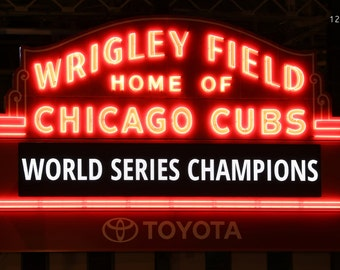 Chicago Cubs World Series Champions, Wrigley Field photo print, sports art photography, baseball gifts, large canvas or paper wall decor