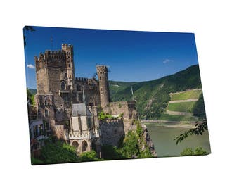 Castles and Cathedrals Castle at Rhine River Gallery Wrapped Canvas Print