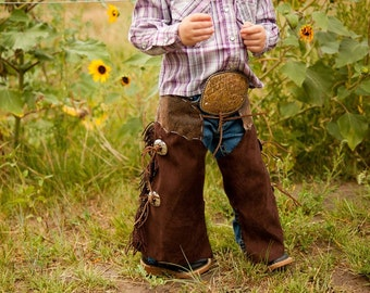 toddler chaps cowboy costume cowgirl costume western clothing first picture photo prop Halloween dress up play cowboy cowgirl birthday