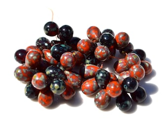Red and BLack Picasso Mix 9mm Drop Czech Glass Beads  25