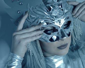 Chrome Unicorn winged embellished eye headpiece costume mask masquerade silver headpiece face accessory